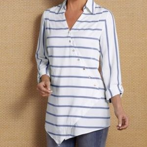 Soft Surroundings Washed Tencel Crossover Tunic M